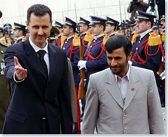 Assad of Syria hosts Ahmadinejad of Iran in Damascus. Relations between the regional powers have improved in the aftermath of the collapse of Saddam in Iraq. Syria is presently engaged in a major arms deal to supply Iran with soviet air defense technology.